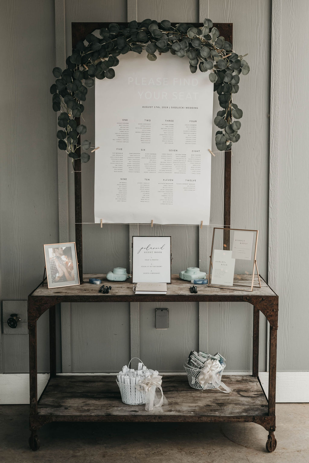 wedding reception welcome table display