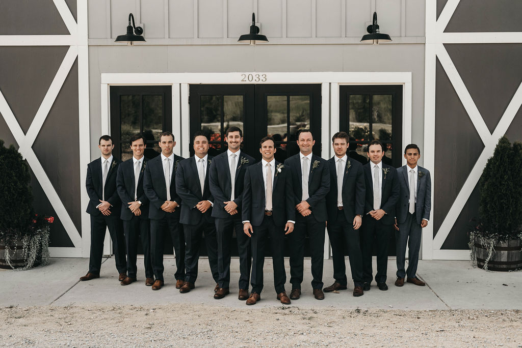 Groom and groomsmen portrait at Allenbrooke Farms