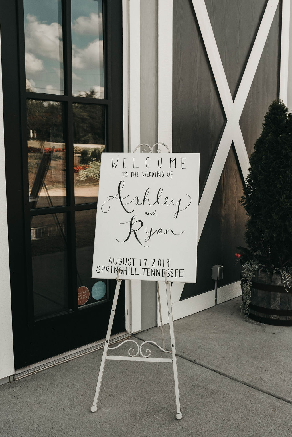 Simple black and white wedding welcome sign