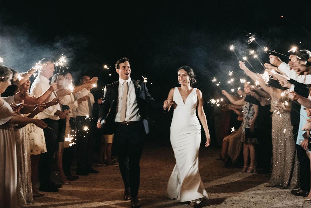 Sparkler wedding exit at Allenbrooke Farms
