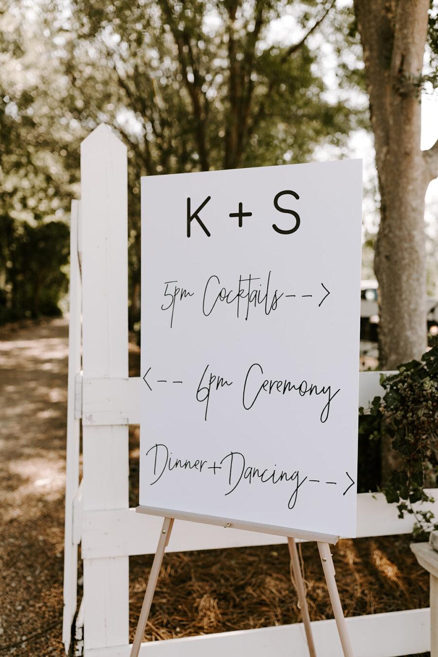 Black and white wedding program sign