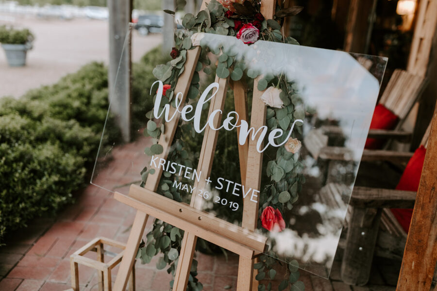 Glass wedding welcome sign