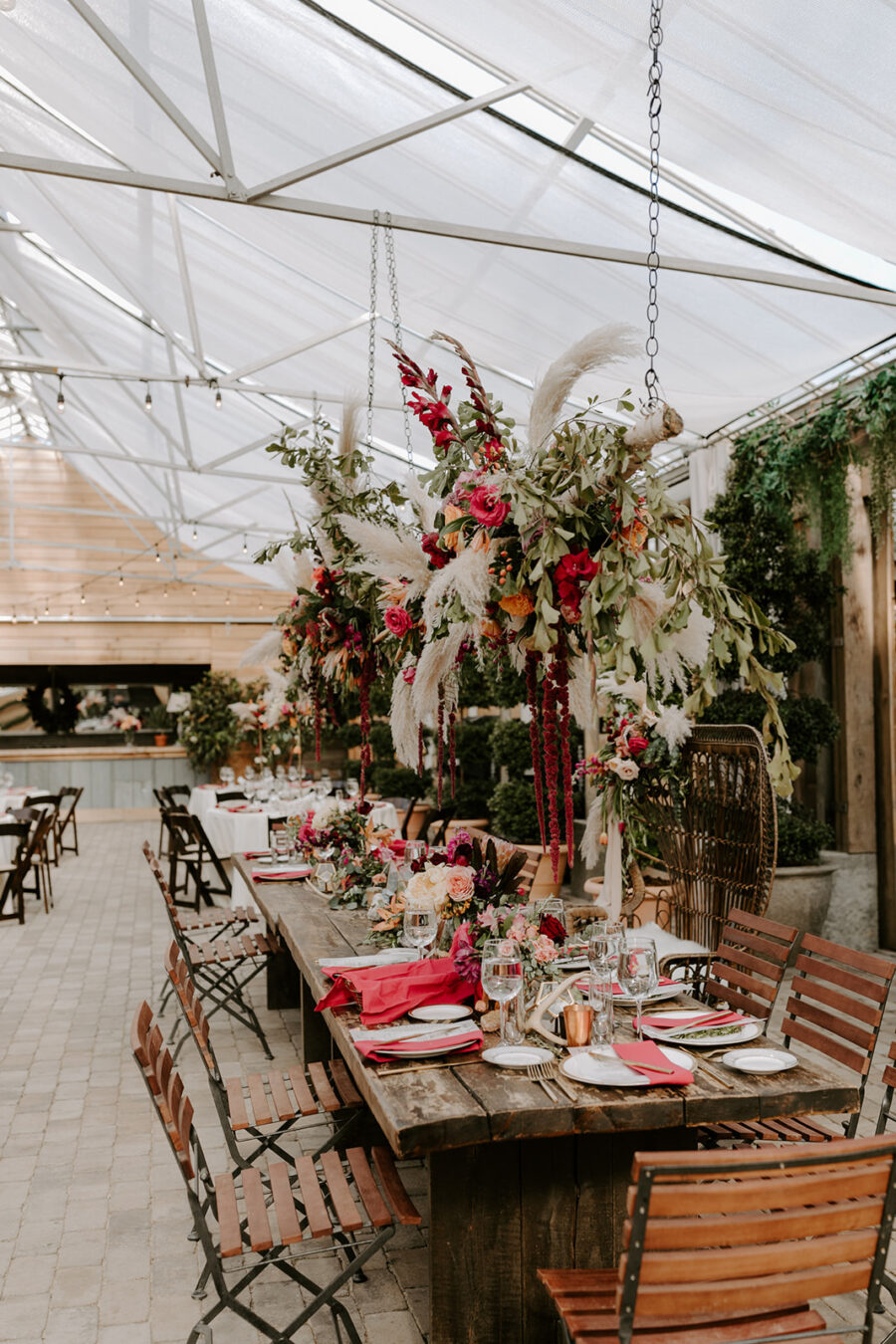 Tall bohemian wedding centerpieces