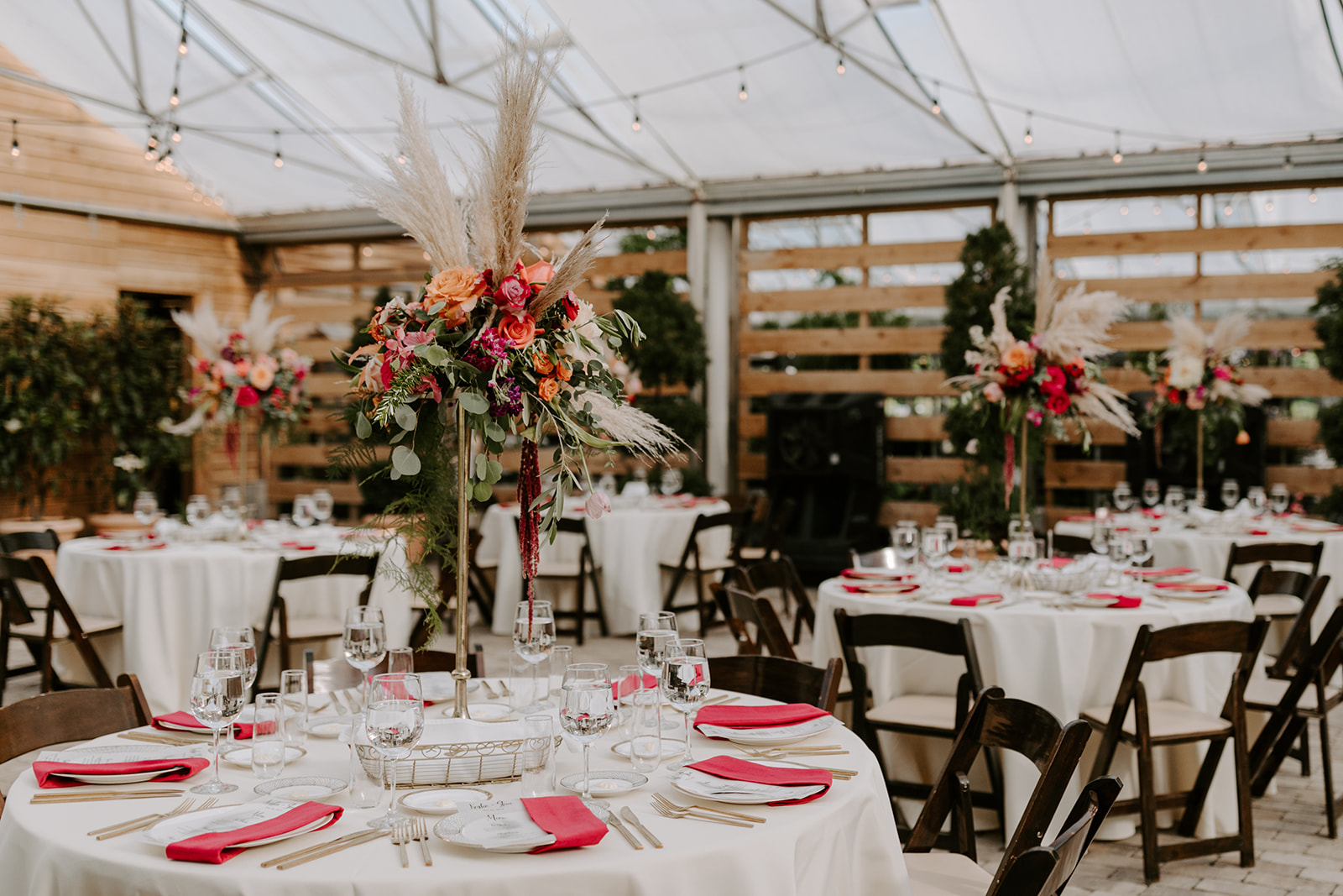 Greenhouse wedding reception decor