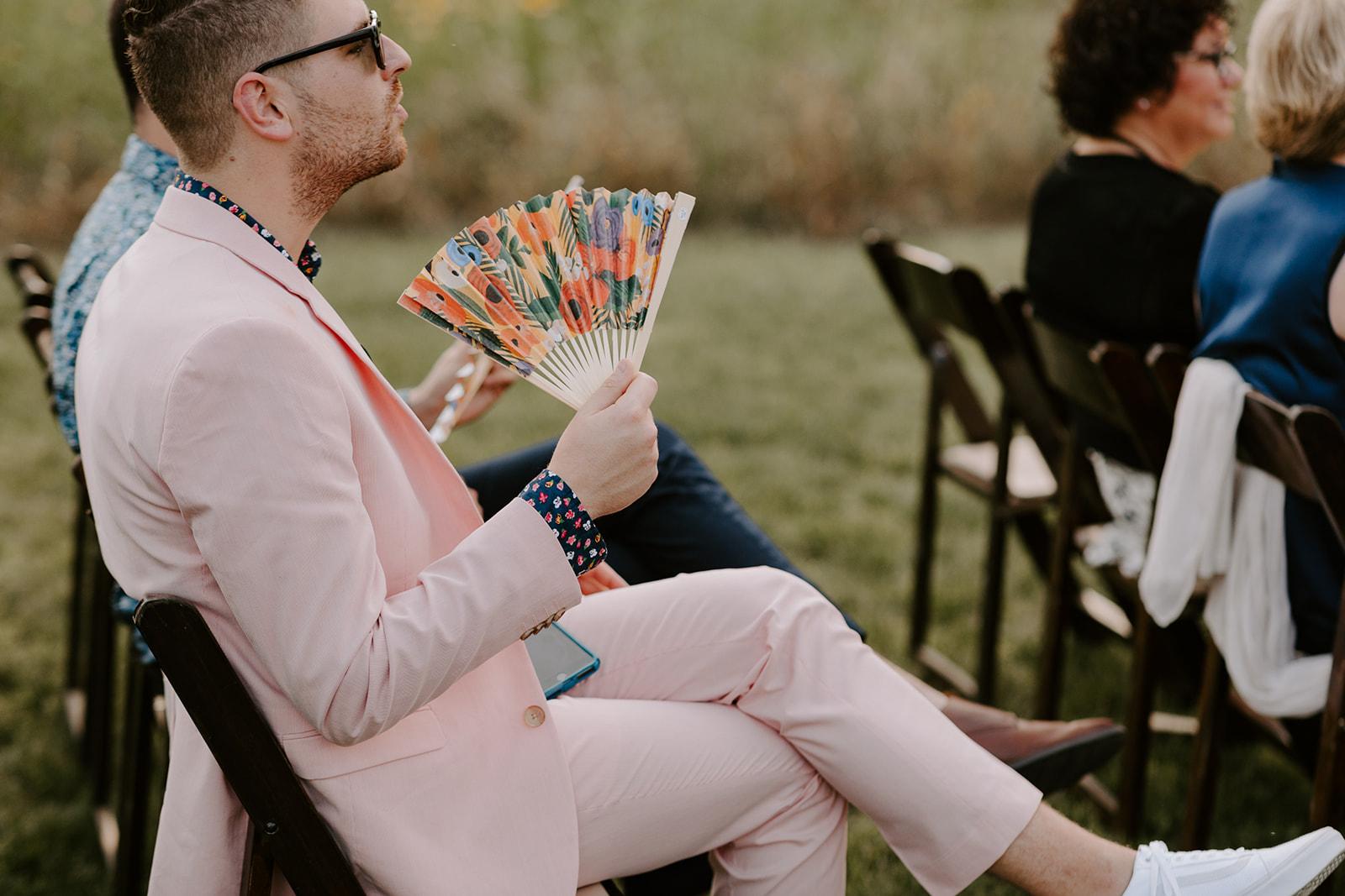 Wedding fans for outdoor summer wedding