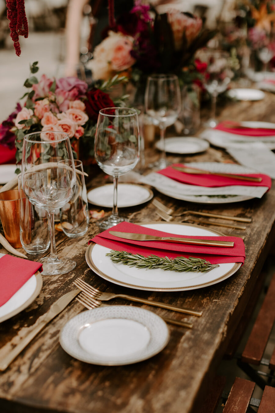 Greenhouse wedding tablescape