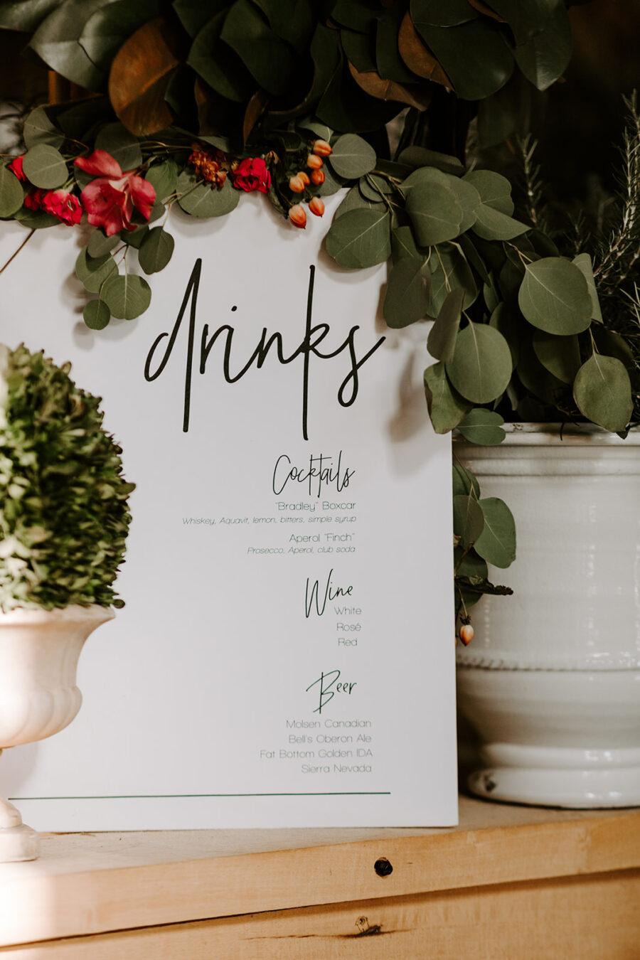 Wedding bar drink sign