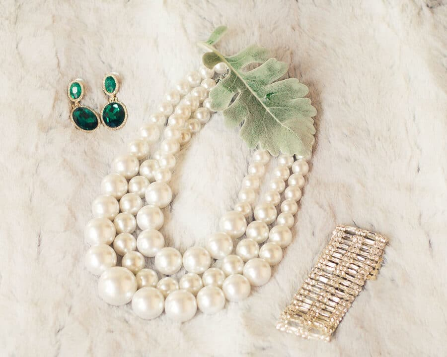 Pearl wedding necklace and emerald earrings   Travel Inspired Photo Shoot