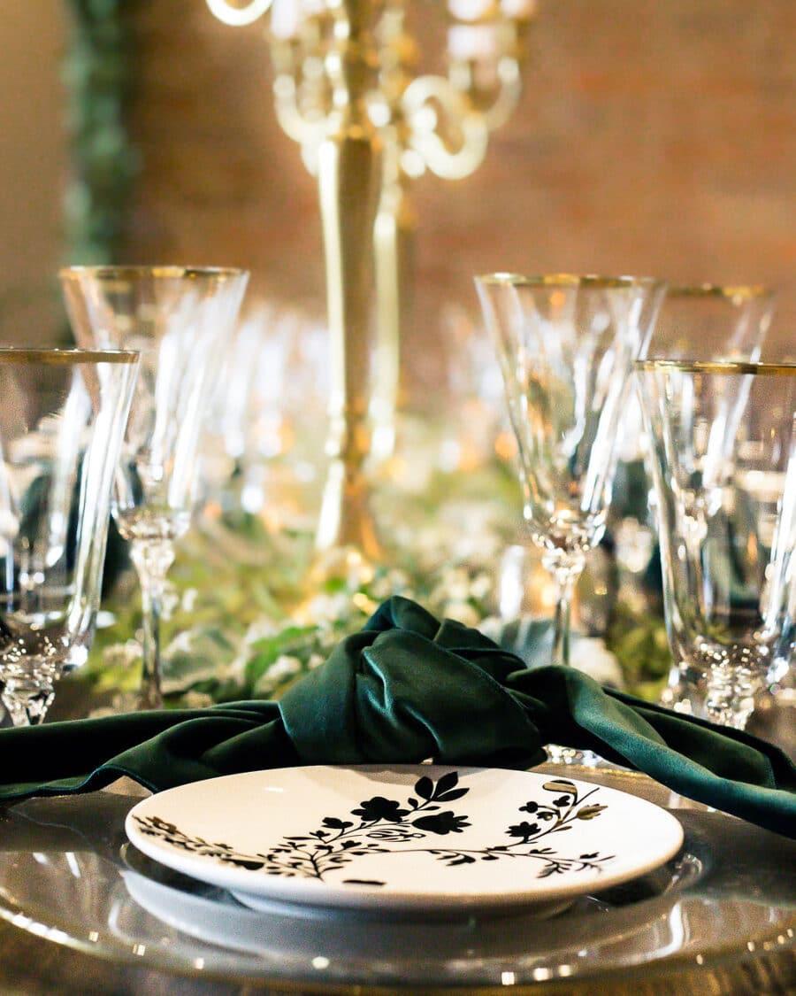 Emerald green wedding linens: Travel Inspired Photo Shoot