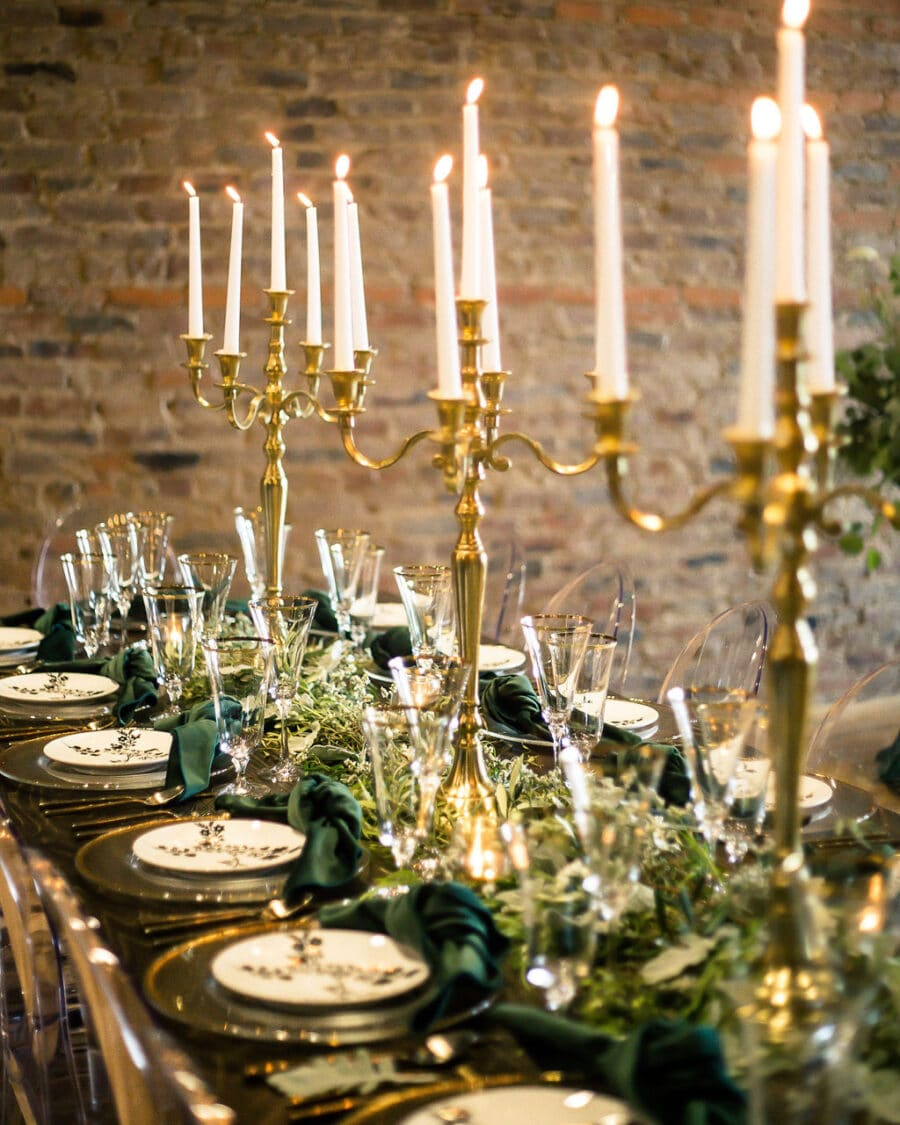 Gold candelabra centerpieces: Travel Inspired Photo Shoot