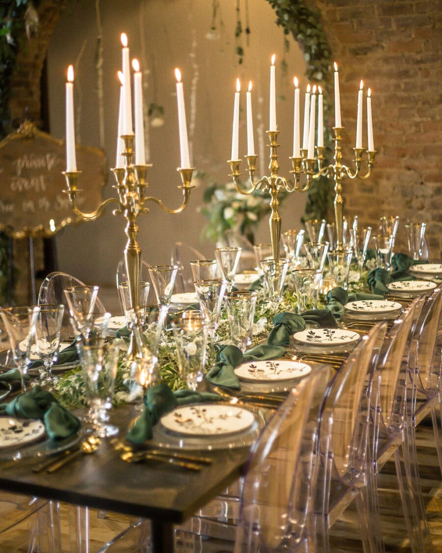 Greenery and gold wedding tablescape: Travel Inspired Photo Shoot