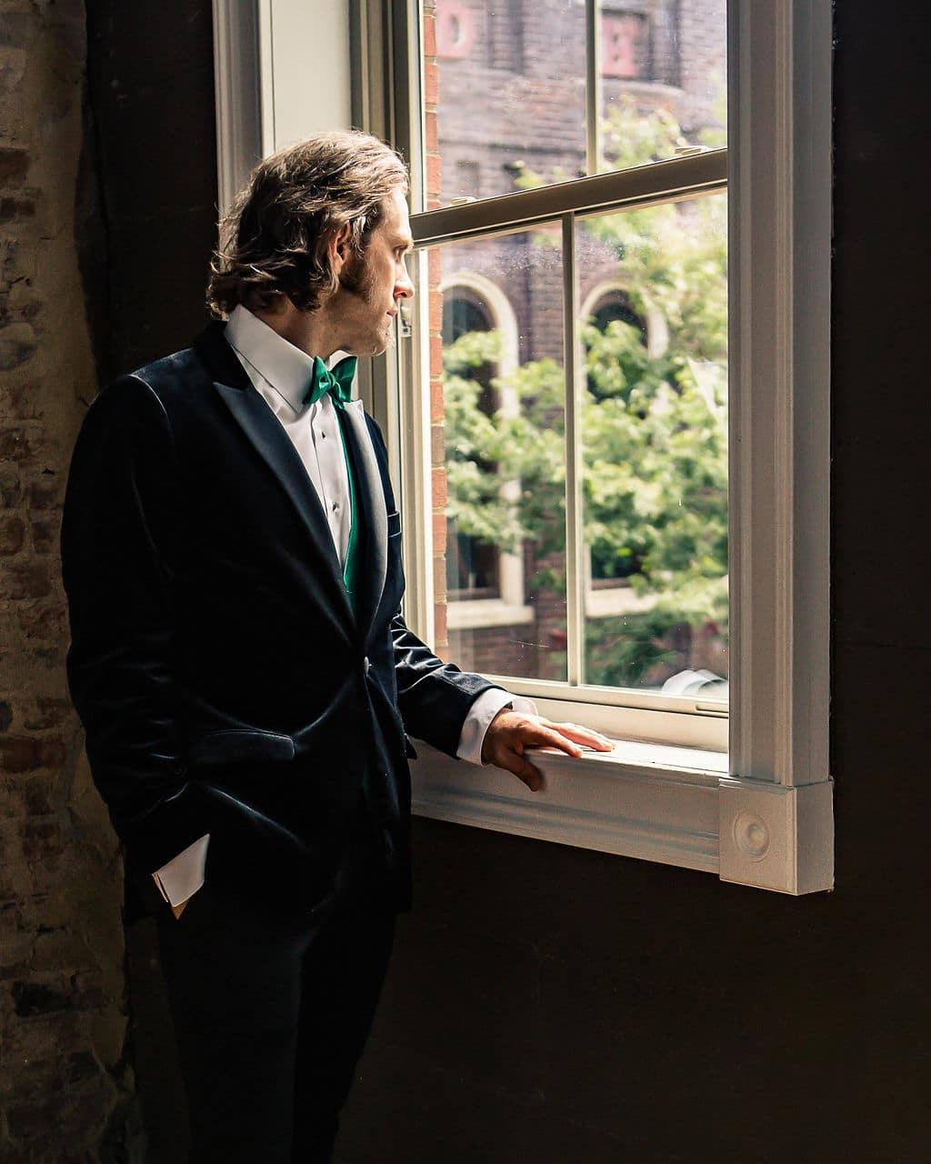 Velvet green wedding tuxedo: