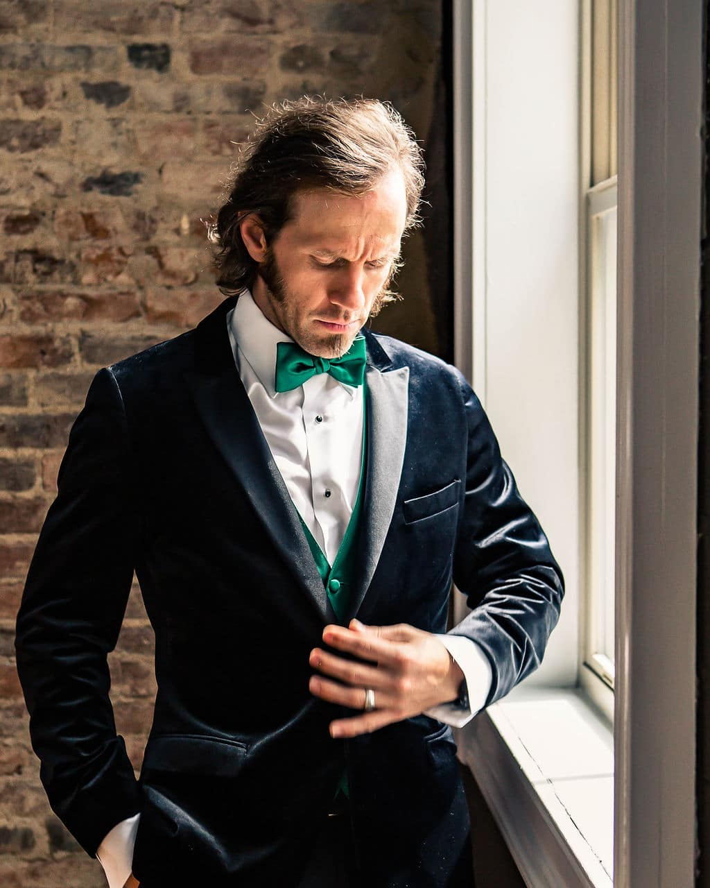 Modern green wedding tuxedo: Travel Inspired Photo Shoot