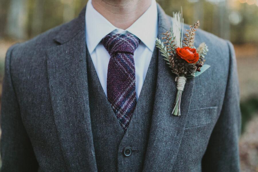 Plaid wedding tie