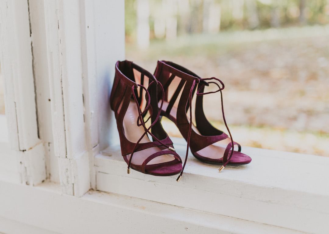 Burgundy open toed bridal shoes