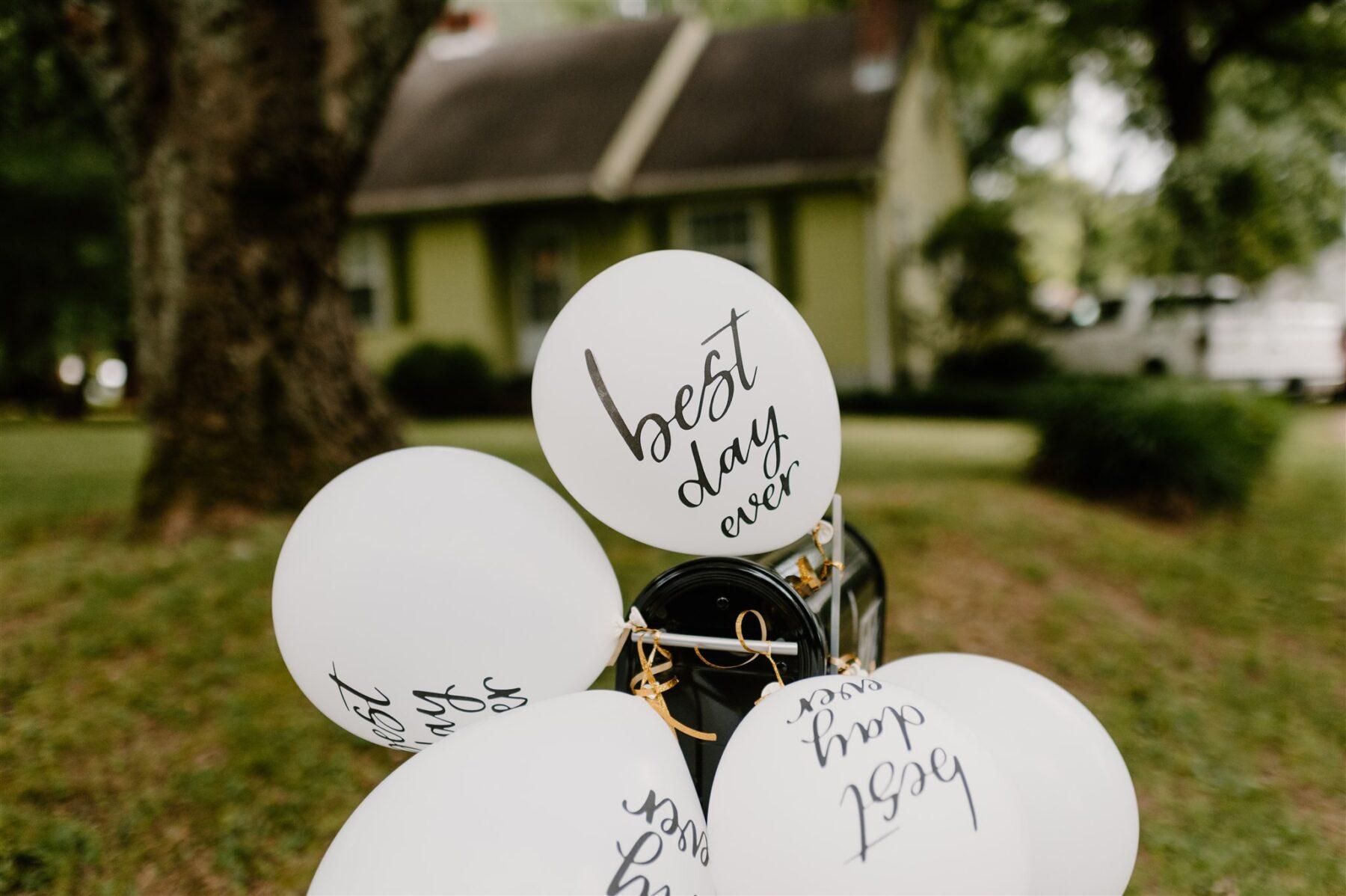 Best day ever white wedding balloons