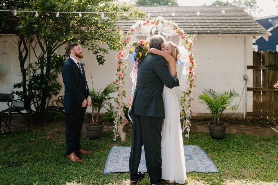 Colorful backyard covid wedding
