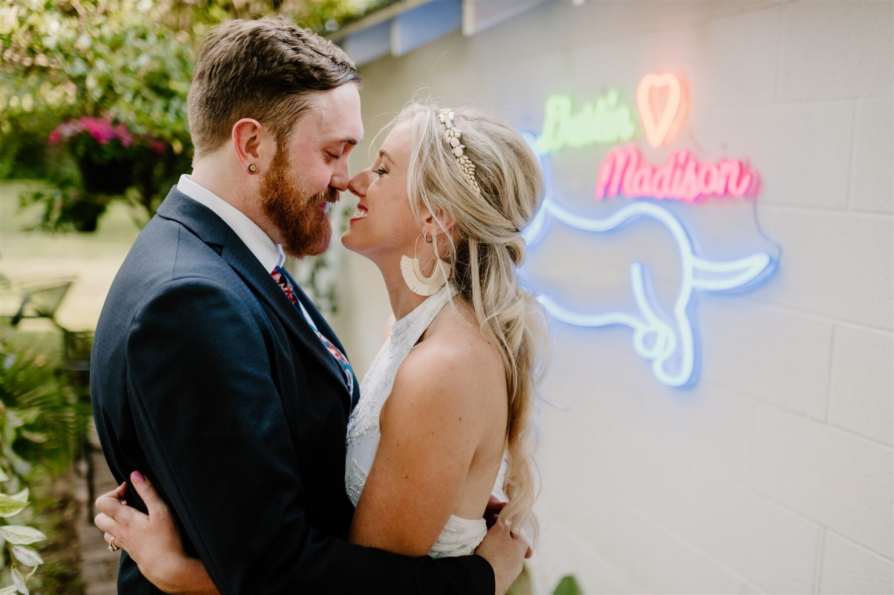 Colorful backyard covid wedding