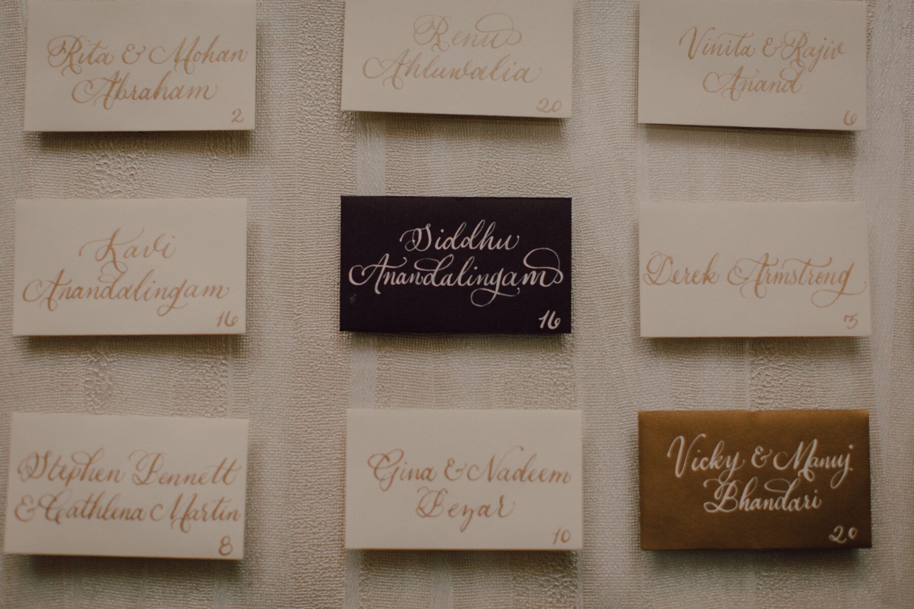 Wedding escort card calligraphy | Nashville Bride Guide