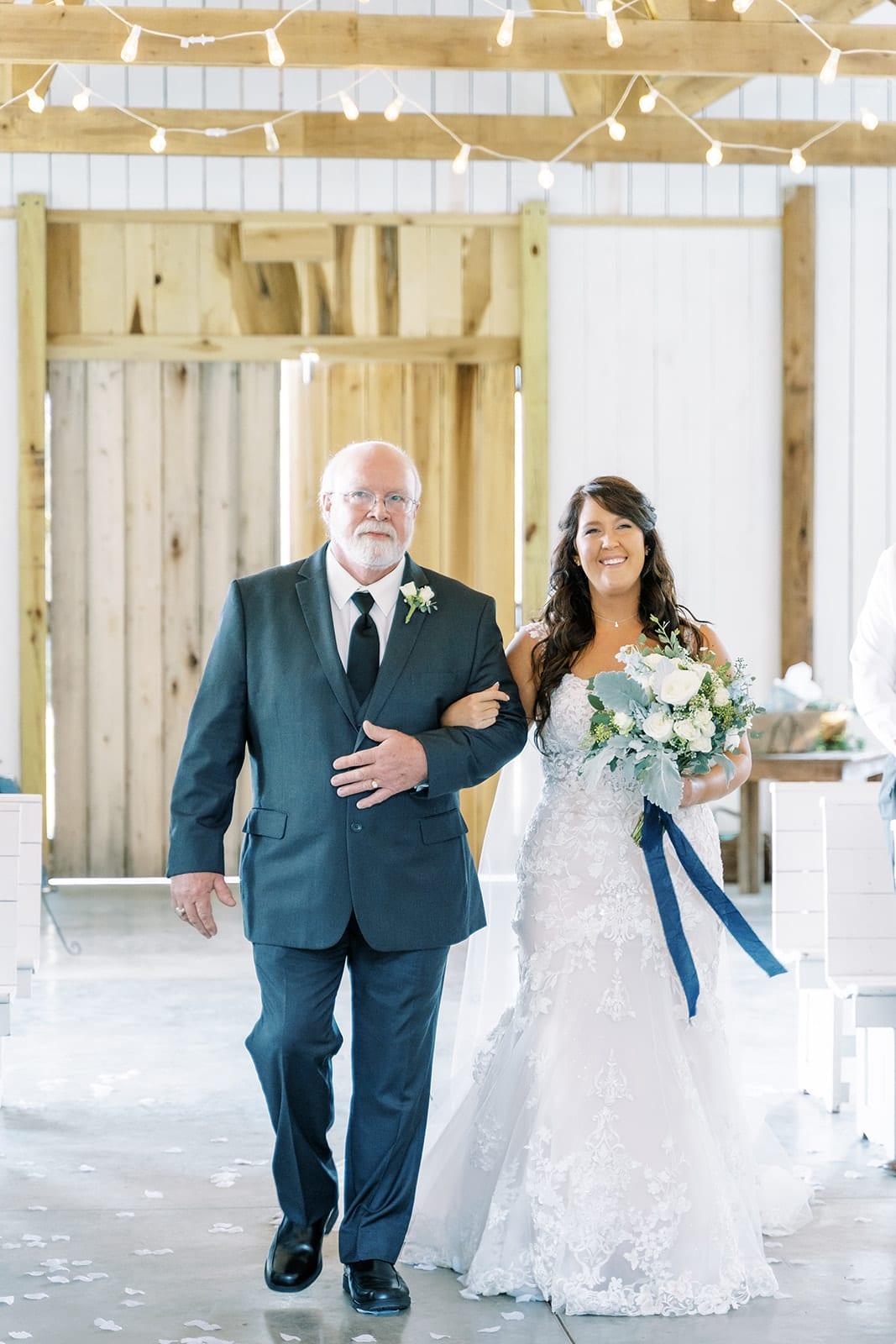Father escorting bride down the aisle at Grace Valley Farm | Nashville Bride Guide