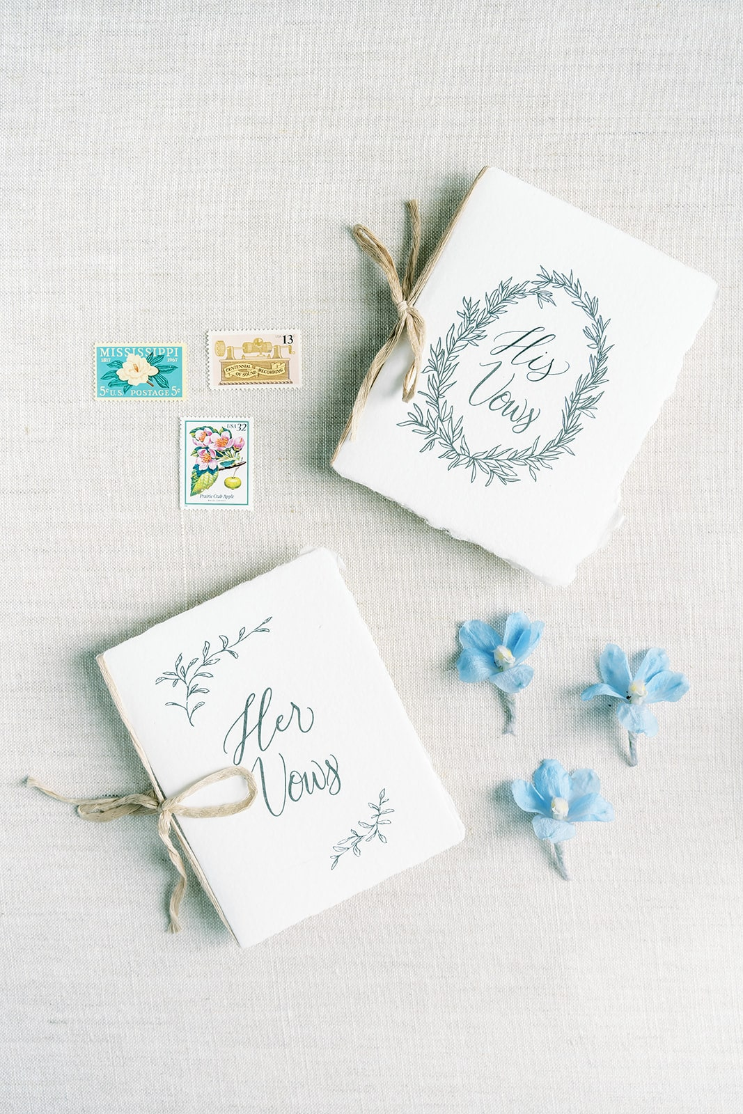 White and greenery wedding vow books | Nashville Bride Guide
