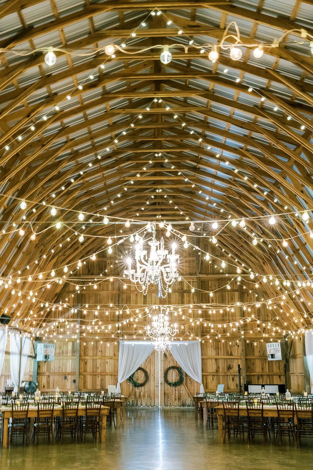 Farm wedding reception with bistro lights | Nashville Bride Guide