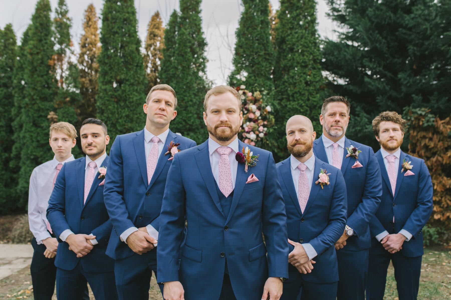 Blue Groom's Attire with Pink Tie | Nashville Bride Guide