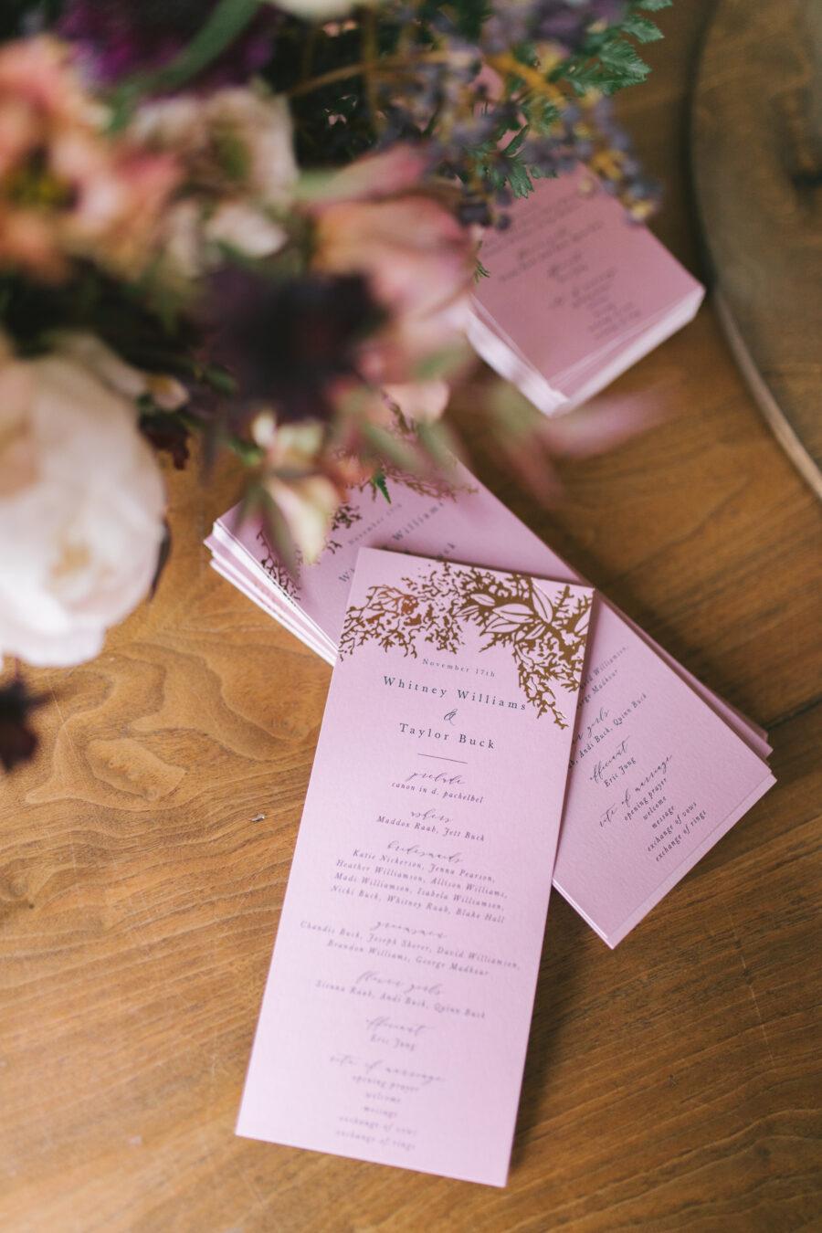 Mauve wedding stationery | Nashville Bride Guide