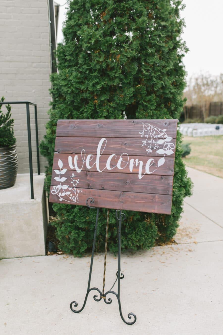 Wood Wedding Welcome Sign at The Cordelle | Nashville Bride Guide