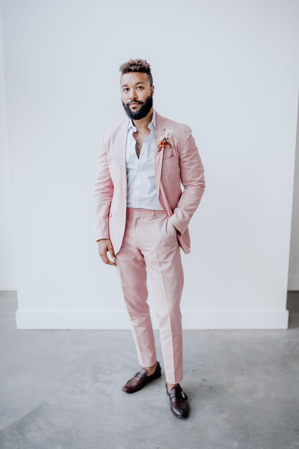 Blush Pink wedding suit