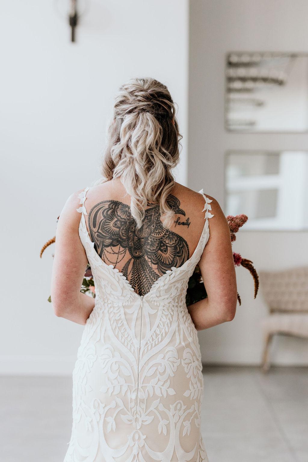Twisted half up half down bridal hair