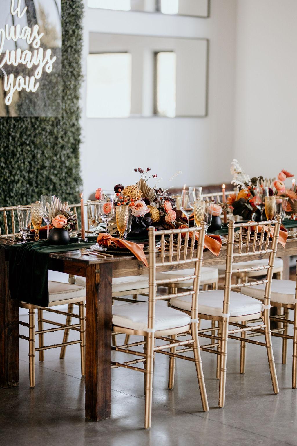 Gold Chiavari wedding chairs