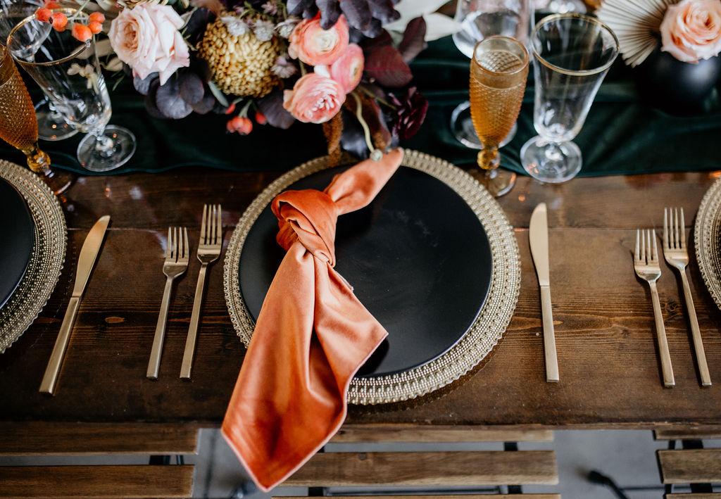 Orange and black wedding linens