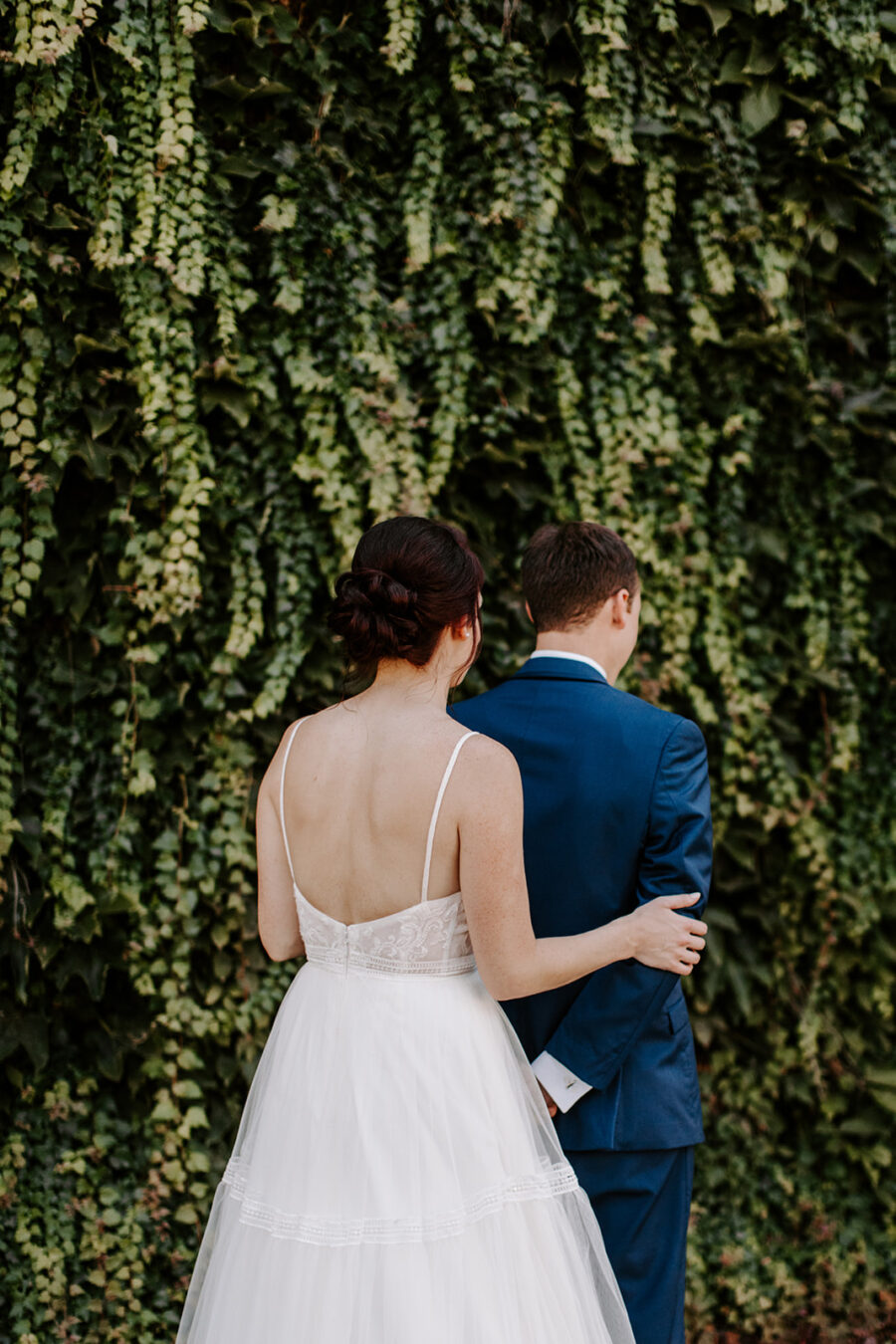 Bride and groom first look at McConnell House wedding   Nashville Bride Guide