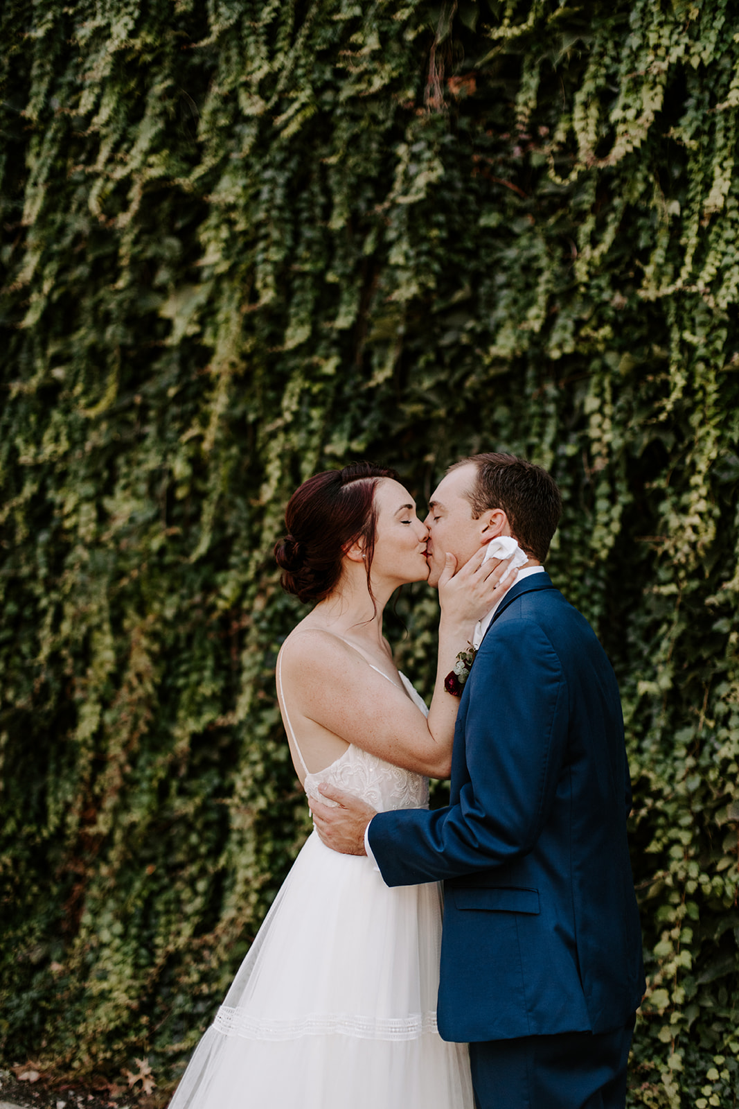 Bride and groom first look at McConnell House wedding | Nashville Bride Guide