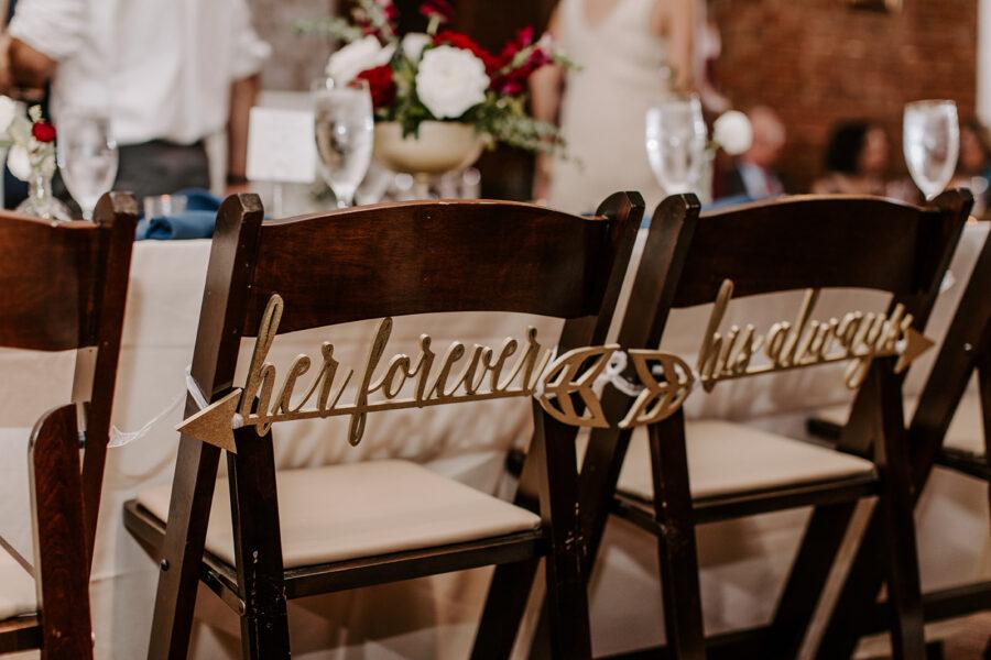 Wood laser cut wedding chair signs   Nashville Bride Guide