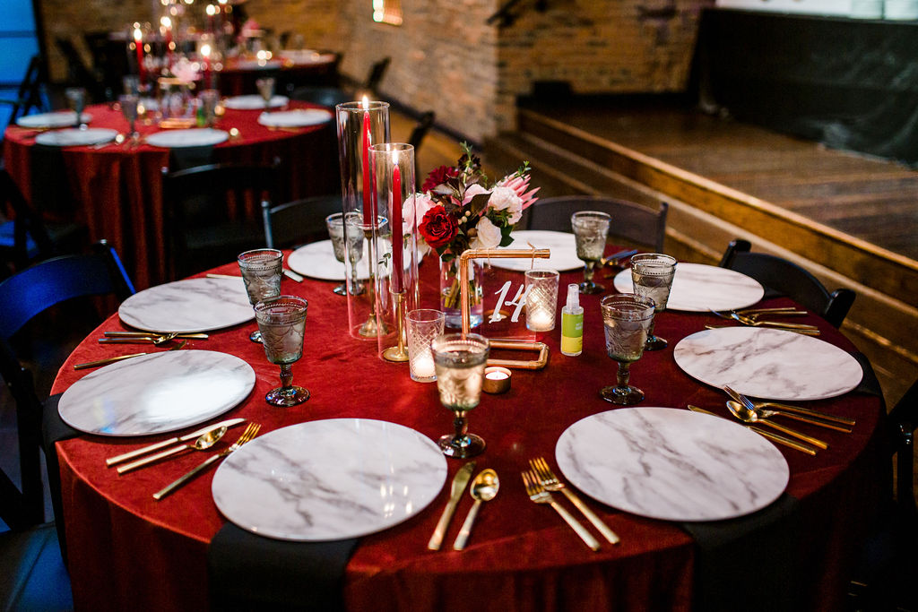 Velvet red wedding linens | Nashville Bride Guide