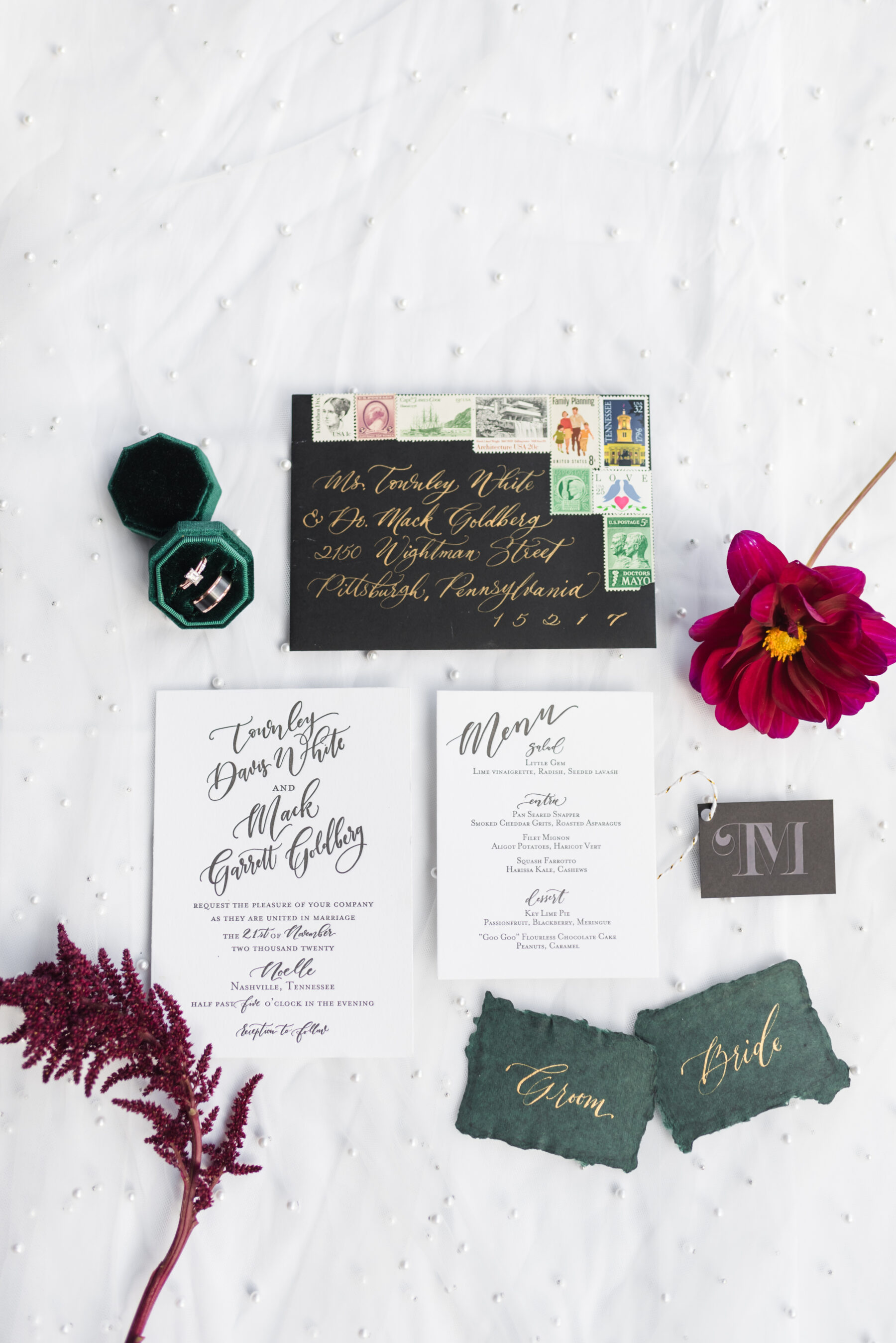 White Ink Calligraphy wedding invitation suite