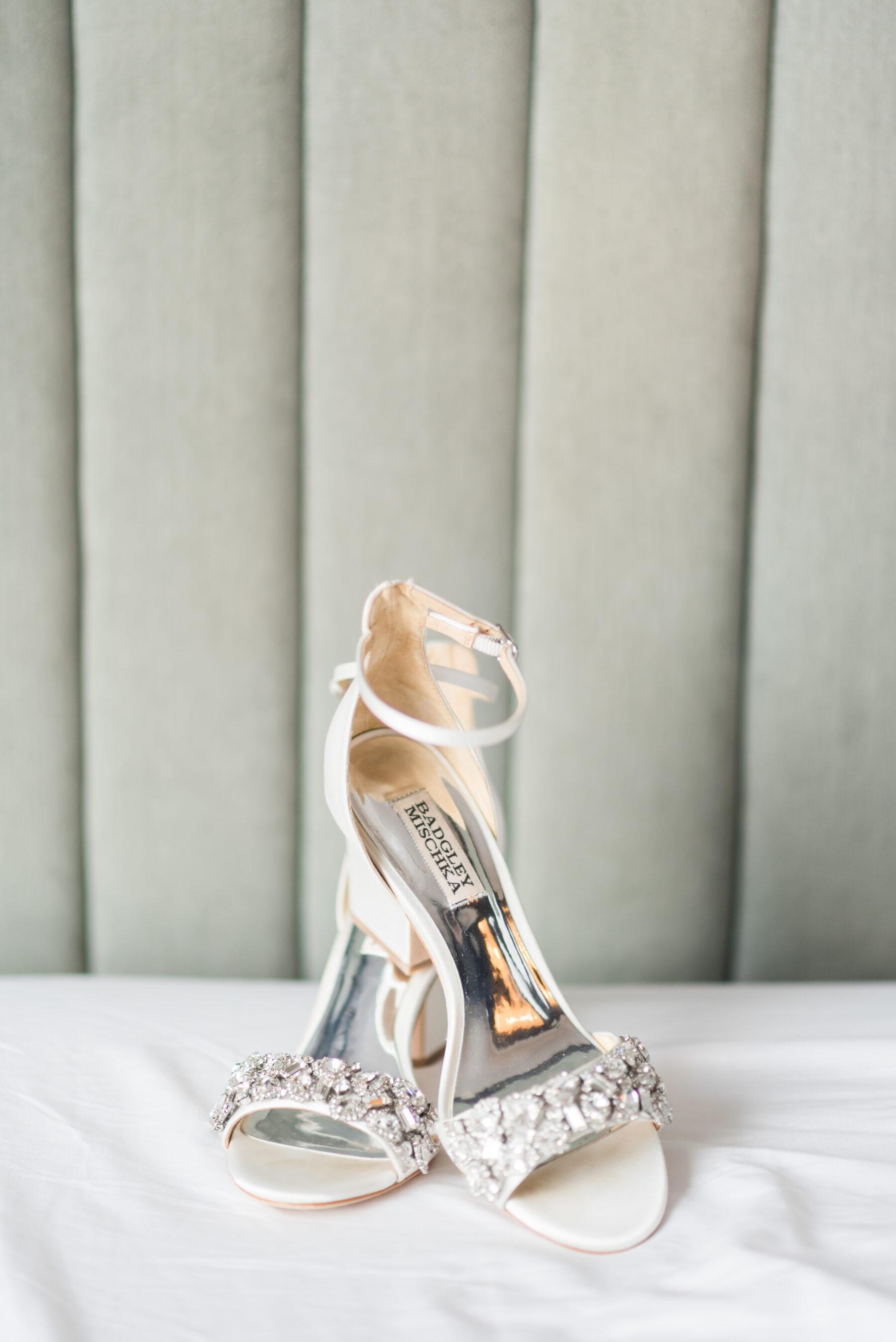 Embellished open-toed Badgley Mischka wedding shoes