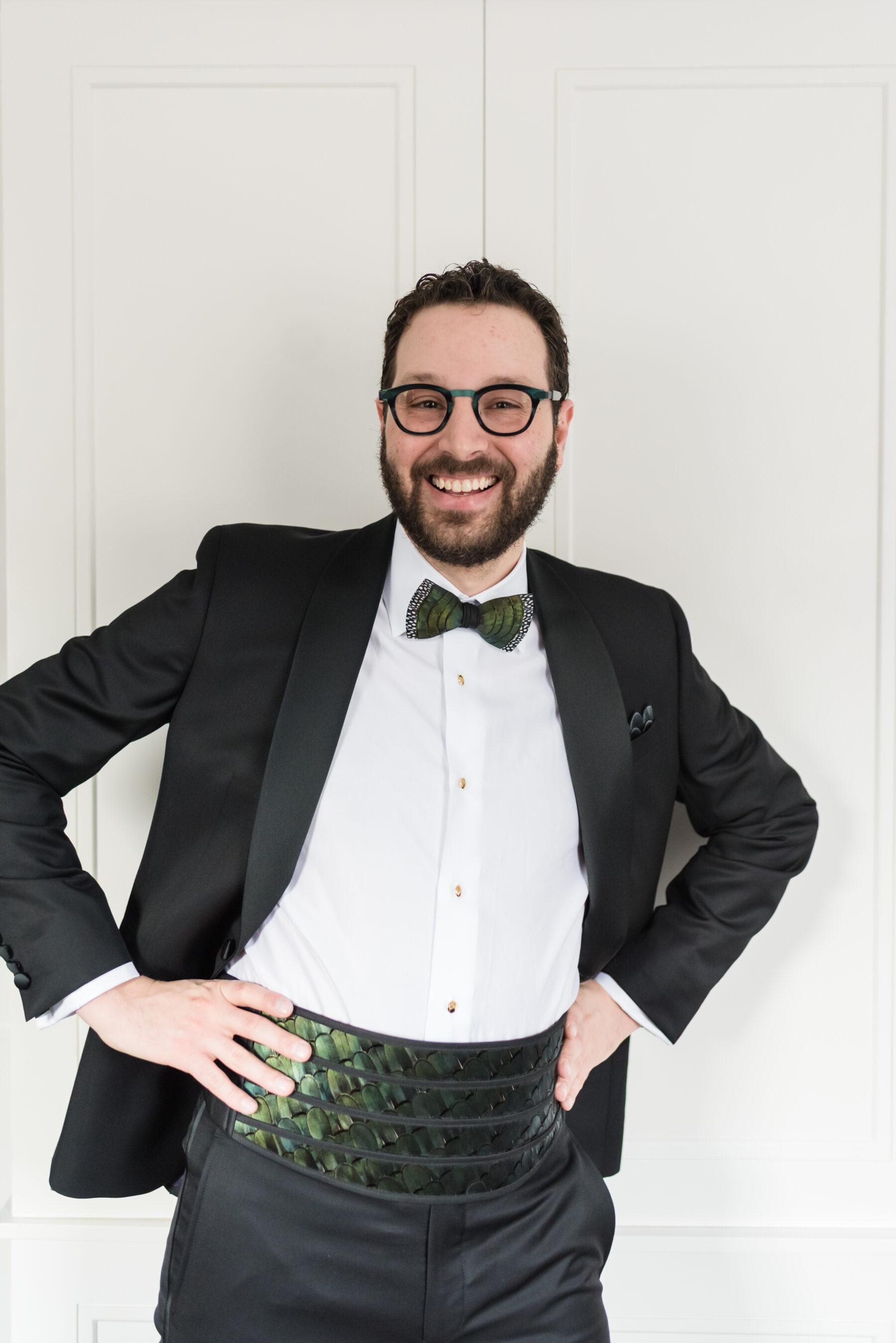 Modern green tuxedo with cumberbund