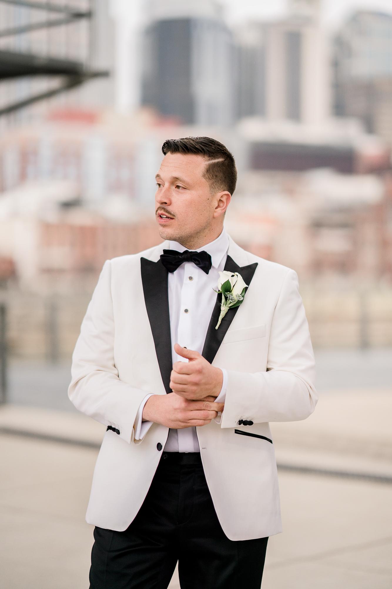 White Wedding Tuxedo Jacket | Nashville Bride Guide
