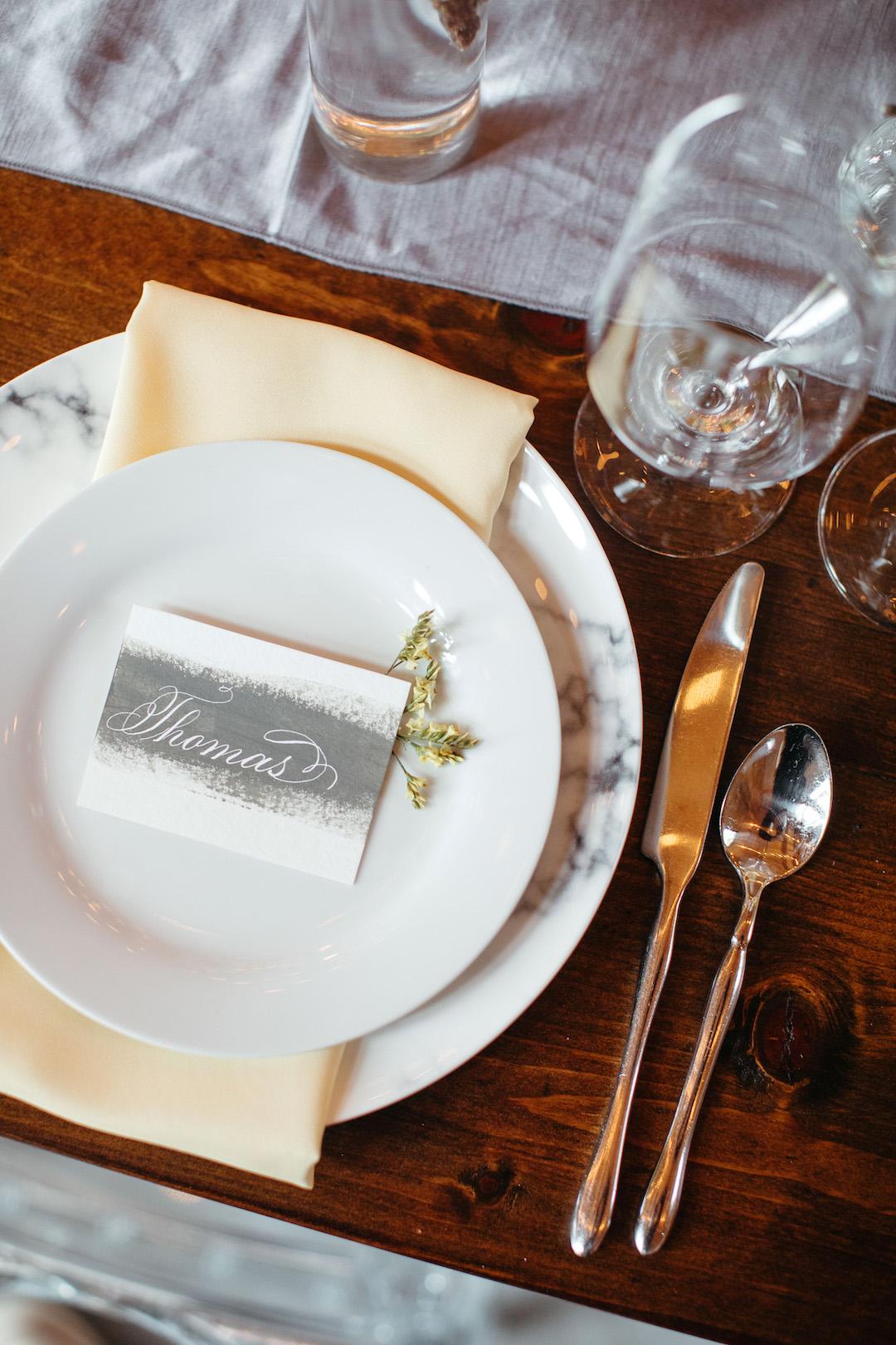 Gray and yellow wedding table decor | Nashville Bride Guide