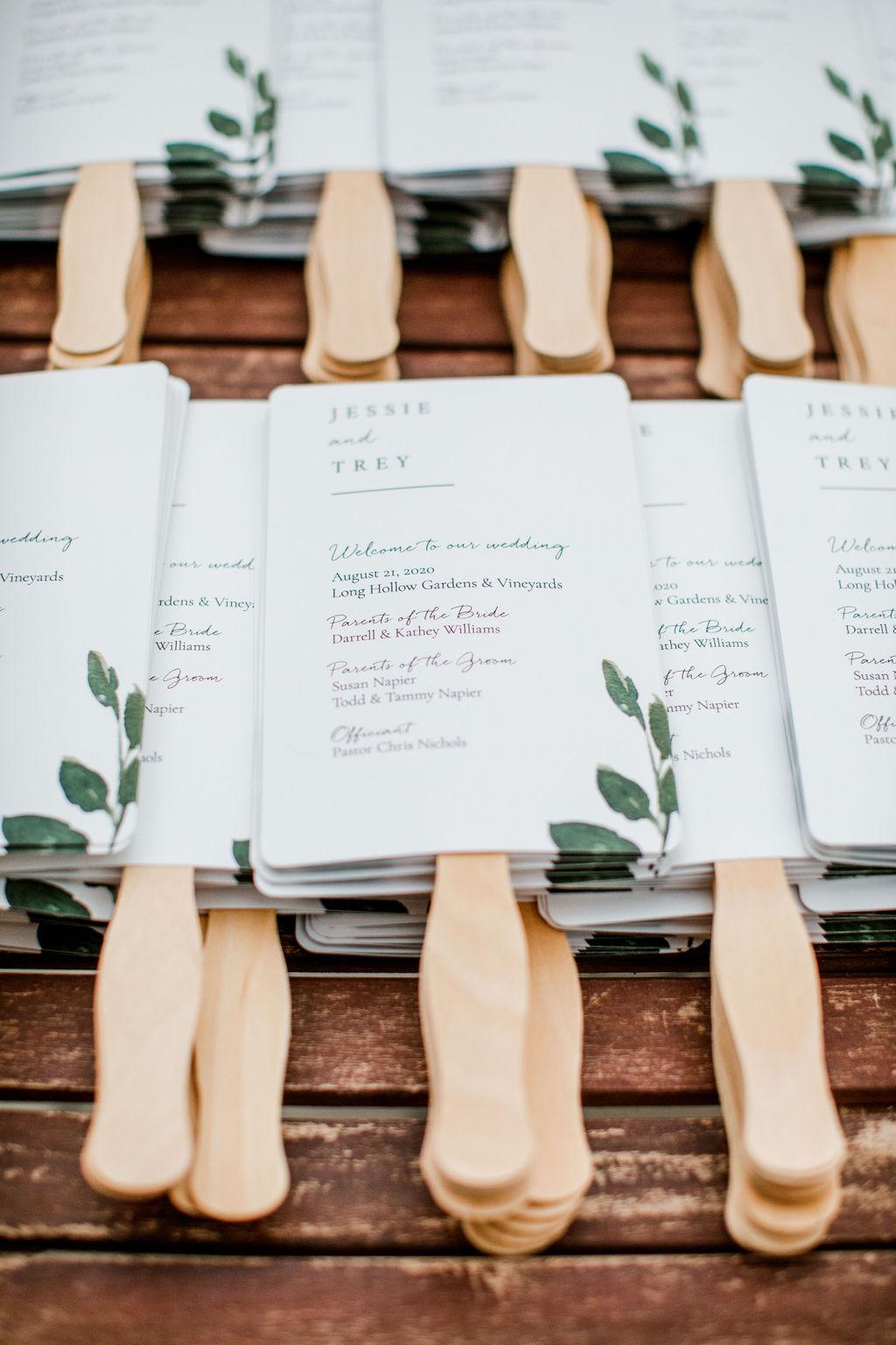 Wedding program fans | Nashville Bride Guide