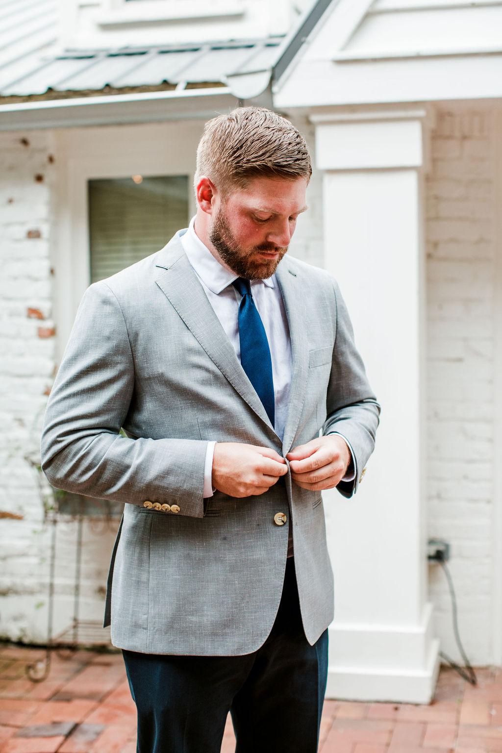 Gray Indochino tuxedo jacket with blue tie | Nashville Bride Guide