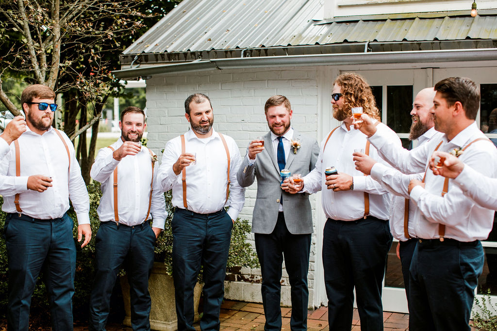 Tan leather wedding suspenders | Nashville Bride Guide