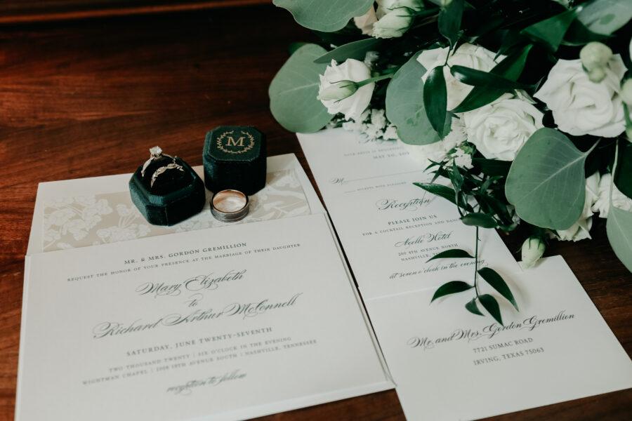 Velvet green monogrammed wedding ring box   Nashville Bride Guide