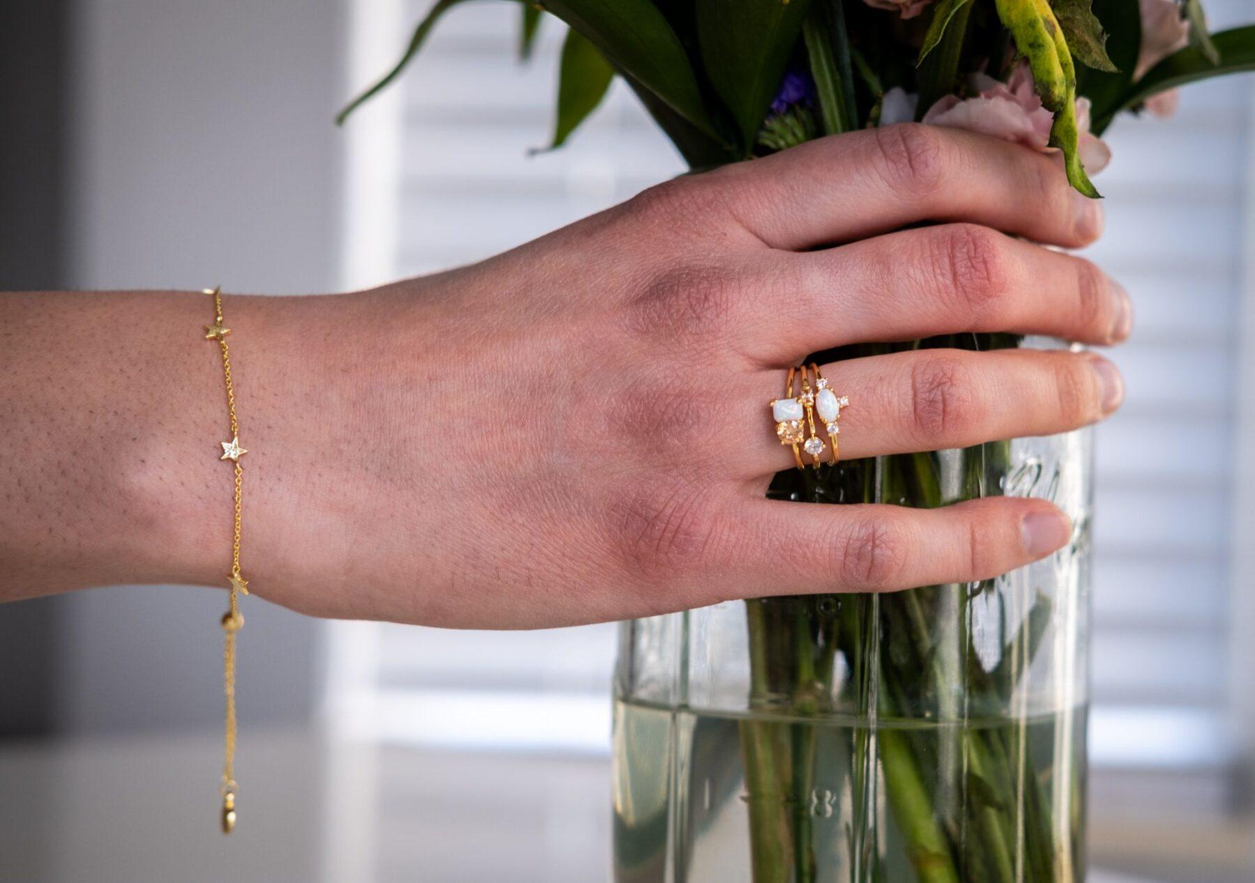 gorjana bracelet and ring set for vendor appointments