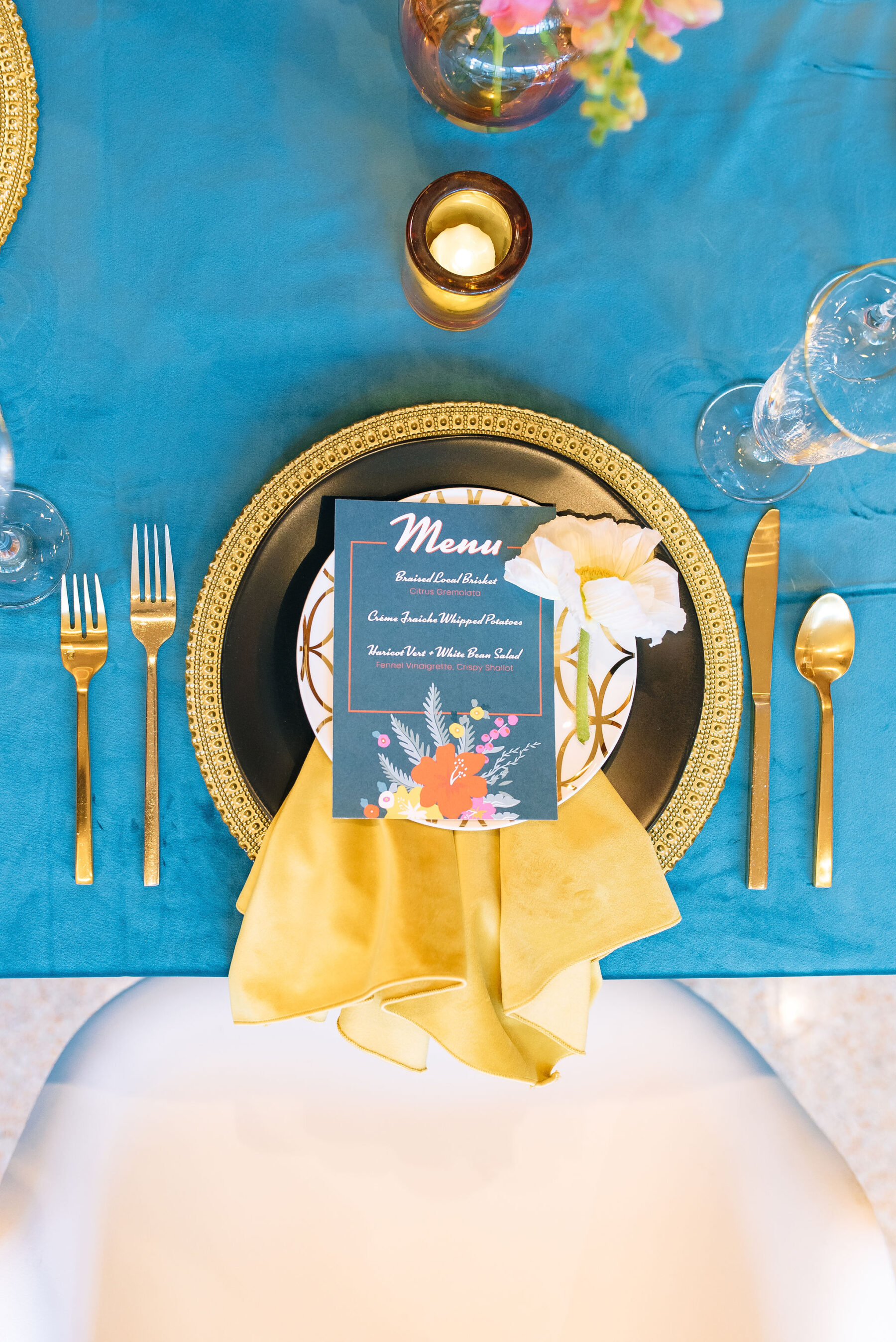 Spring retro wedding place setting