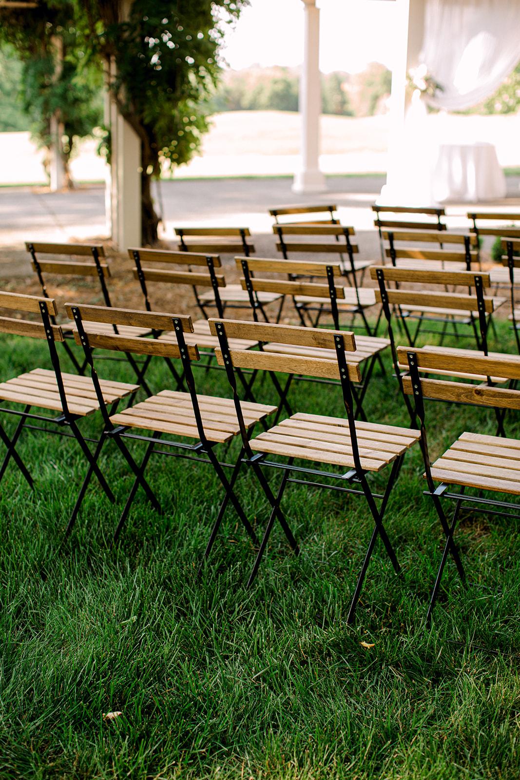 Outdoor wedding ceremony bistro chairs | Nashville Bride Guide