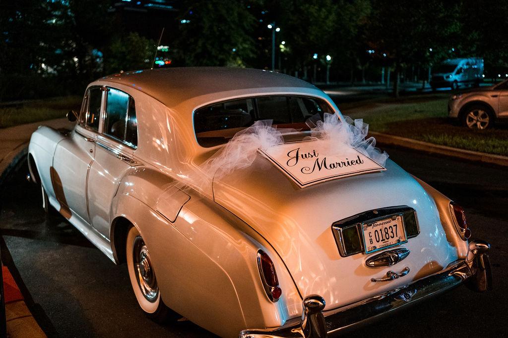 Just married vintage wedding car | Nashville Bride Guide